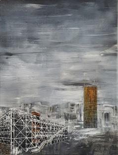 Centre Pompidou et Tour Montparnasse Acrylique et encre