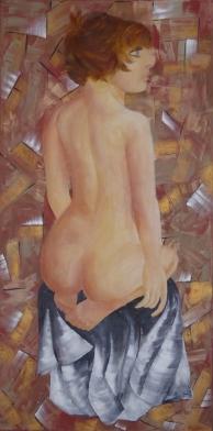 Nu sur drapé - Acrylique - 120x60