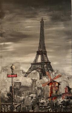 La Tour Eiffel et le Moulin rouge Acrylique et encre