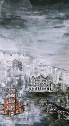 Opéra, Arc de Triomphe et métro Acrylique et Encre
