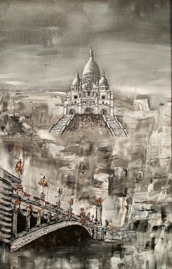 Paris, du Sacré Cœur au pont Alexandre III - Acrylique et encre